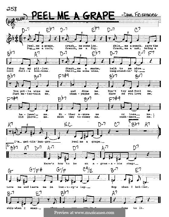 Peel Me a Grape (Diana Krall): melodia, letra e acordes -Instrumentos C by Dave Frishberg