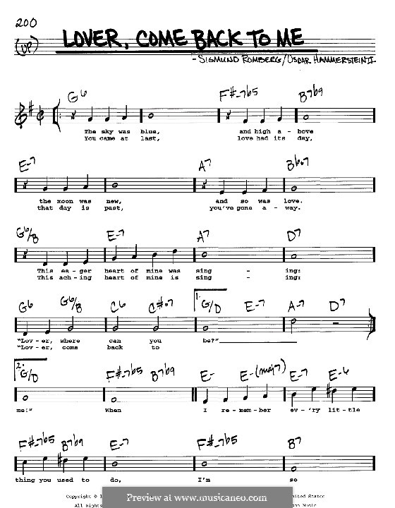 Lover, Come Back to Me (from New Moon): melodia, letra e acordes -Instrumentos C by Sigmund Romberg