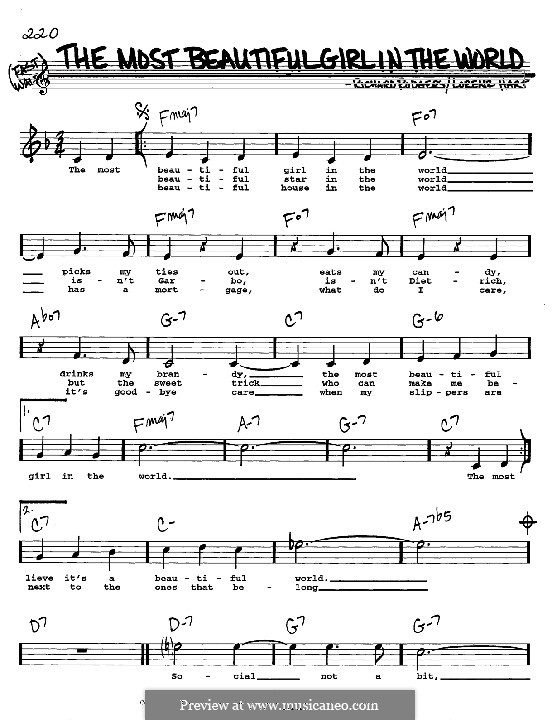 The Most Beautiful Girl in the World: melodia, letra e acordes -Instrumentos C by Richard Rodgers