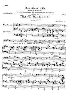 Das Abendrot (Sunset), D.627 Op.173 No.6: E Major by Franz Schubert