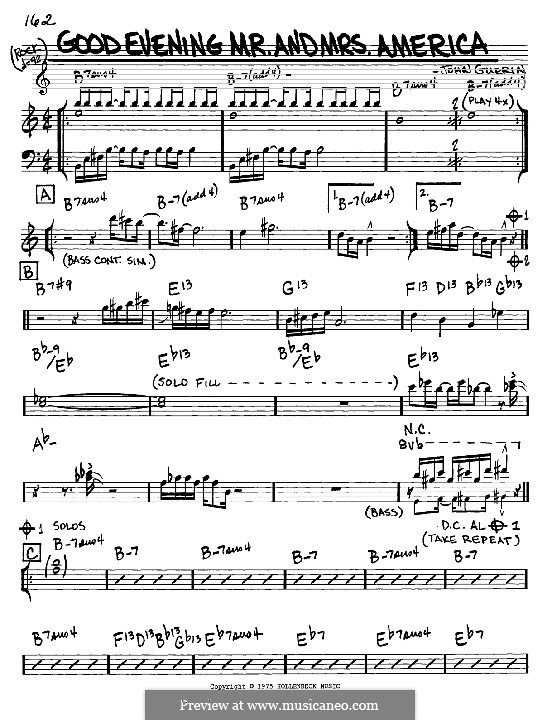 Good Evening Mr. and Mrs. America: melodia e acordes - Instrumentos Eb by John Guerin