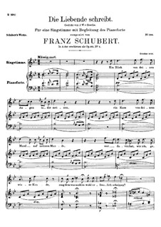 Die Liebende schreibt (Letter from a Girl in Love), D.673 Op.165 No.1: B flat Maior by Franz Schubert