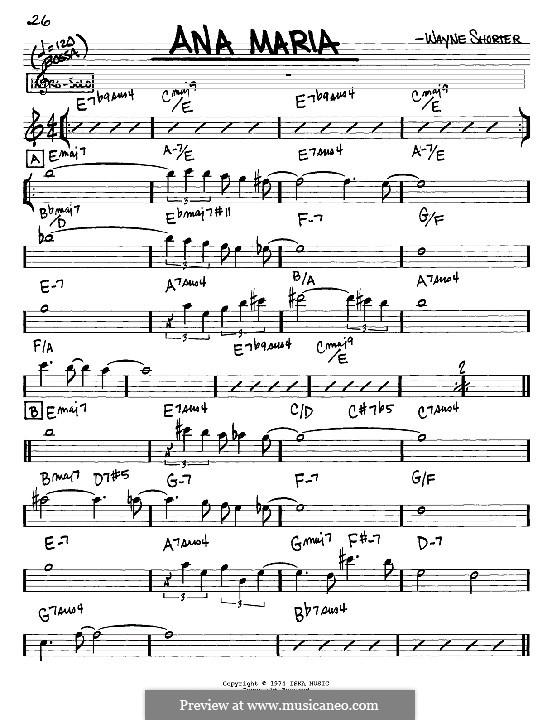 Ana Maria: melodia e acordes - Instrumentos Eb by Wayne Shorter