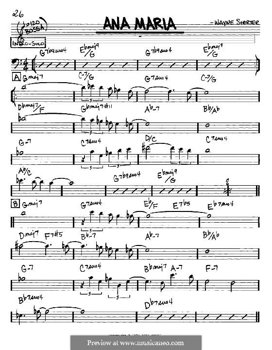 Ana Maria: Melodia e acordes - clave de fá instrumentos by Wayne Shorter