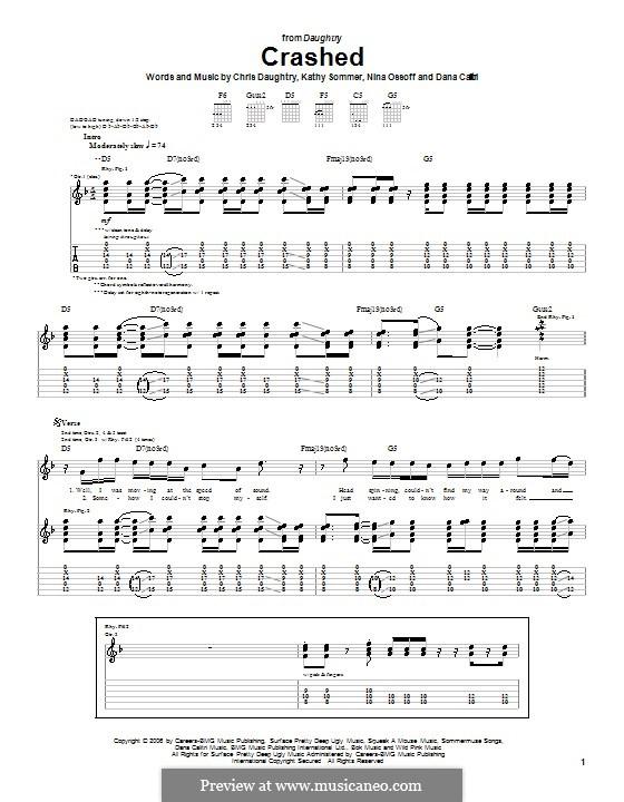 Crashed (Daughtry): Para guitarra com guia by Chris Daughtry, Dana Calitri, Kathy Sommer, Nina Ossoff