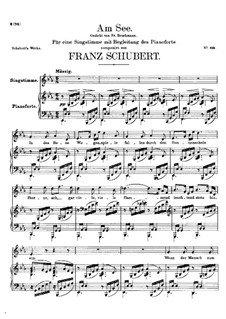 Am See (By the Lake), D.746: Partitura piano-vocal by Franz Schubert