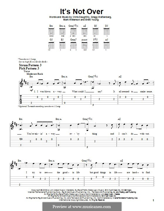 It's Not Over (Daughtry): Para guitarra (versão facil) by Brett Young, Chris Daughtry, Gregg Wattenberg, Mark Wilkerson
