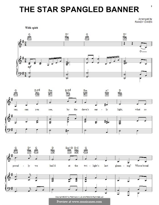 The Star Spangled Banner (National Anthem of The United States). Printable Scores: para voz,piano ou guitarra (G maior) by John Stafford Smith