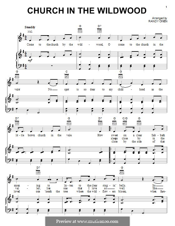 Church in the Wildwood (Alabama): Para vocais e piano (ou Guitarra) by Randy Owen