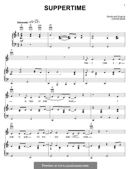 Suppertime (Alabama): Para vocais e piano (ou Guitarra) by Jimmie Davis