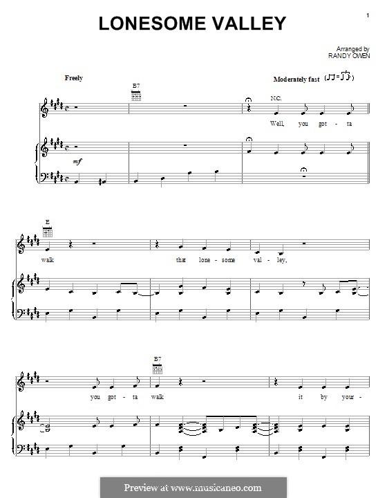 Lonesome Valley (Alabama): Para vocais e piano (ou Guitarra) by Randy Owen