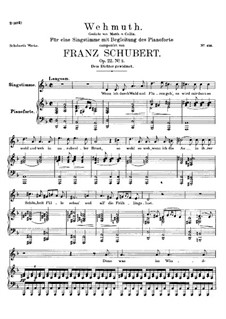 Wehmut (Melancholy), D.772 Op.22 No.2: Para vocais e piano by Franz Schubert