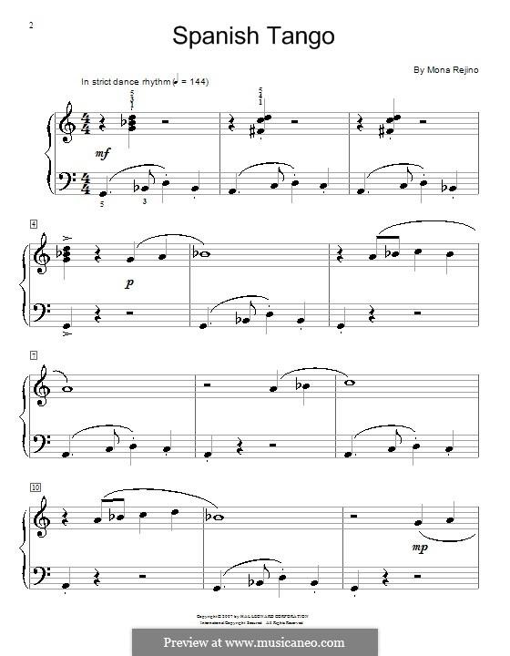 Spanish Tango: Para Piano by Mona Rejino