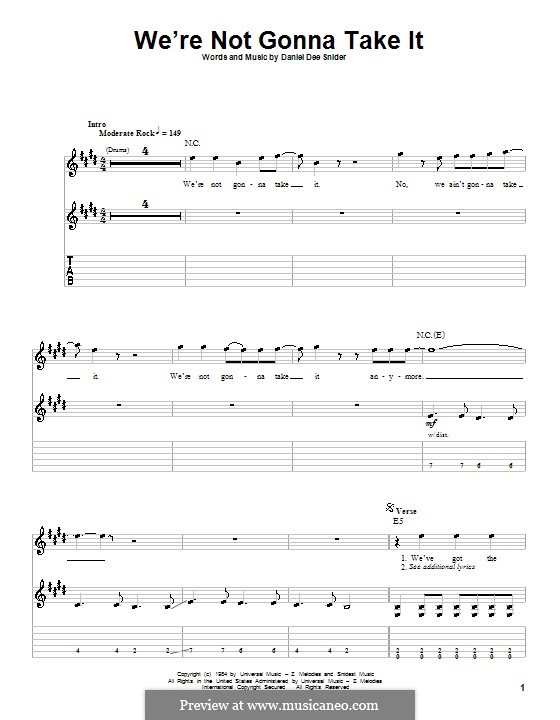 We're Not Gonna Take It (Twisted Sister): Para guitarra com guia by Daniel Dee Snider