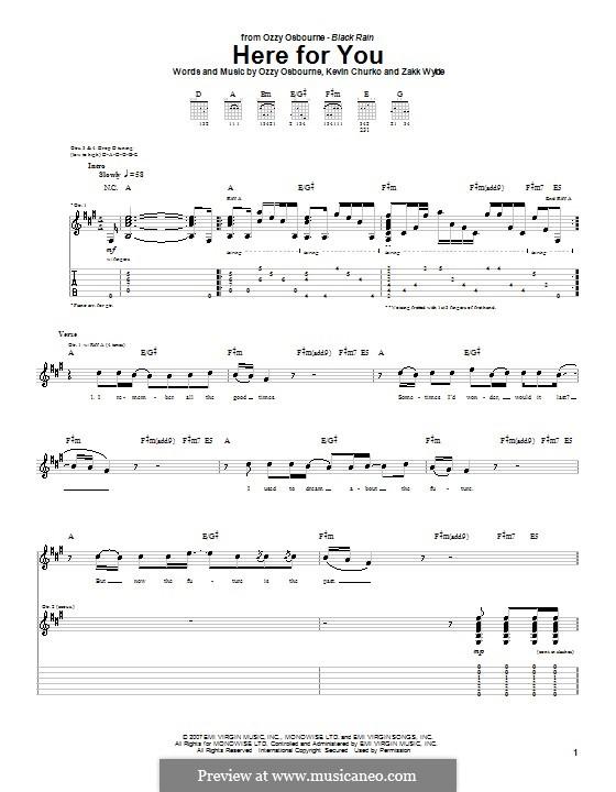 Here for You (Ozzy Osbourne): Para guitarra com guia by Kevin Churko, Zakk Wylde