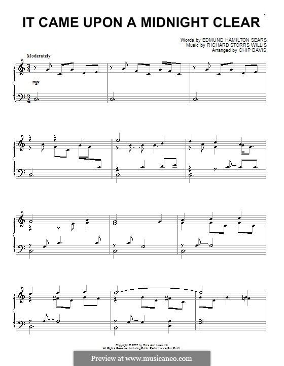 It Came upon the Midnight Clear, for Piano: C maior by Richard Storrs Willis