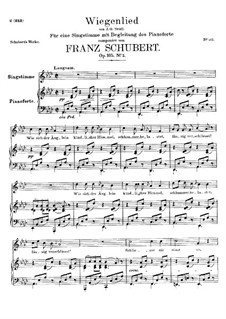 Wiegenlied (Cradle Song), D.867 Op.105 No.2: Para vocais e piano by Franz Schubert