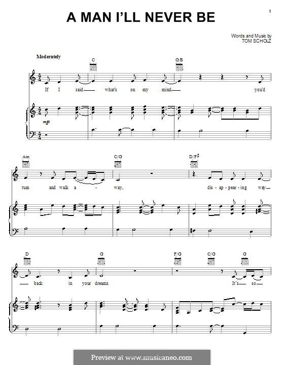 A Man I'll Never Be (Boston): Para vocais e piano (ou Guitarra) by Tom Scholz