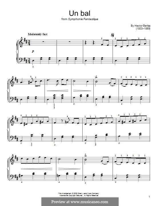 Symphonie fantastique (Fantastic Symphony), H.48 Op.14: Movimento II, para piano by Hector Berlioz