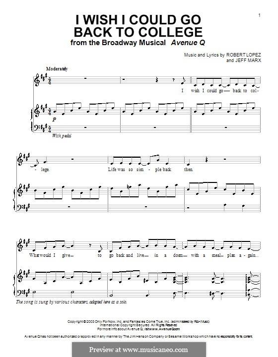 I Wish I Could Go Back To College (Avenue Q): Para vocais e piano (ou Guitarra) by Jeff Marx, Robert Lopez