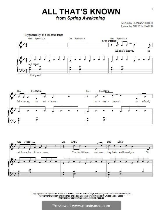 All That's Known: Para vocais e piano (ou Guitarra) by Duncan Sheik