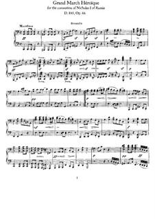 Grand Heroic March for the Coronation of Nicholas I of Russia, D.885: para piano de quadro mãos by Franz Schubert