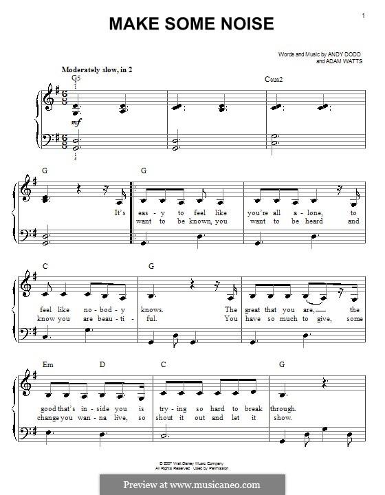 Make Some Noise (Hannah Montana): Facil para o piano by Adam Watts, Andrew Dodd