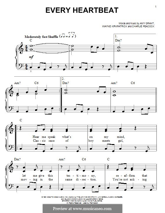 Every Heartbeat (Amy Grant): Facil para o piano by Charlie Peacock, Wayne Kirkpatrick