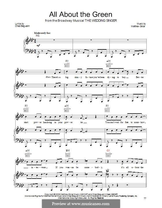 All About the Green: Para vocais e piano (ou Guitarra) by Chad Beguelin