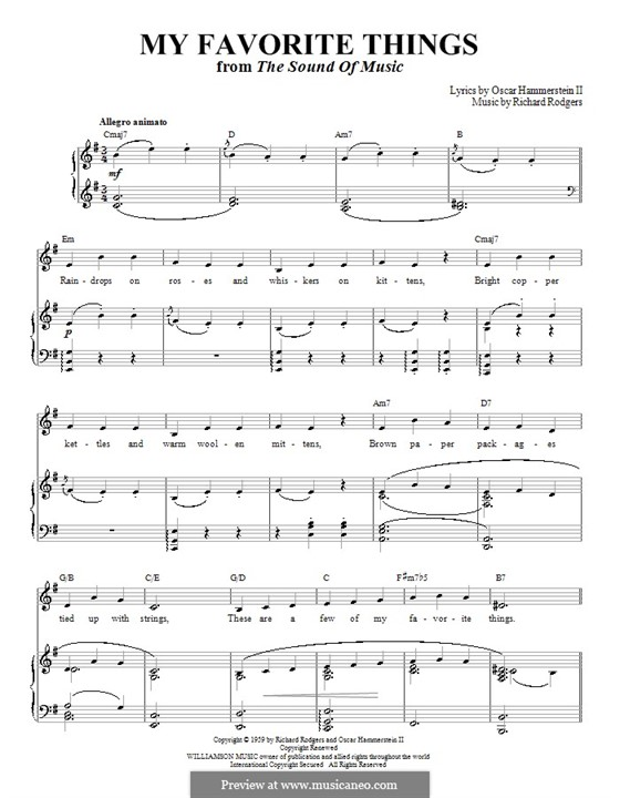 My Favorite Things (from The Sound of Music): Para vocais e piano (ou Guitarra) by Richard Rodgers