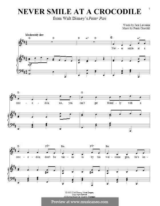 Never Smile at a Crocodile: Para vocais e piano (ou Guitarra) by Frank Churchill