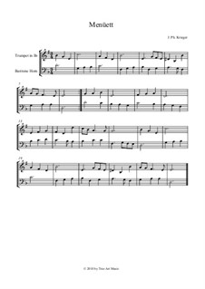 Menuet: For trumpet and baritone horn by Johann Krieger
