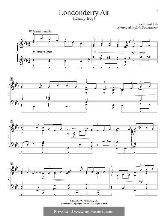 Danny Boy (Printable Scores): Para Piano by folklore