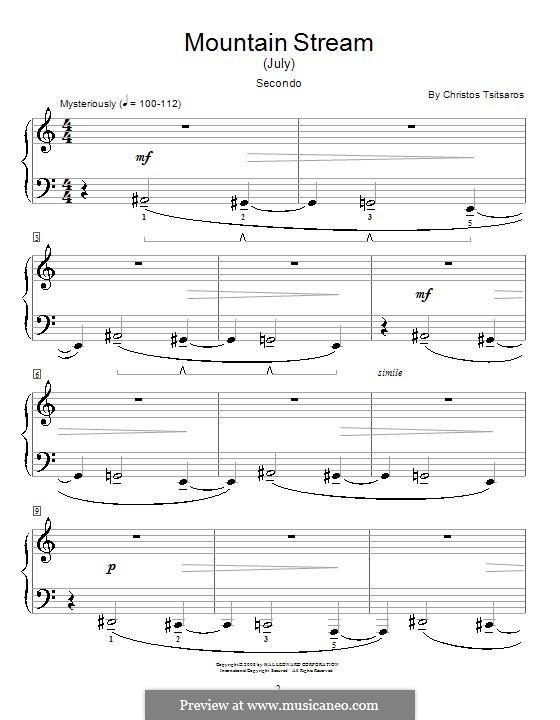 Mountain Stream (July): Para Piano by Christos Tsitsaros