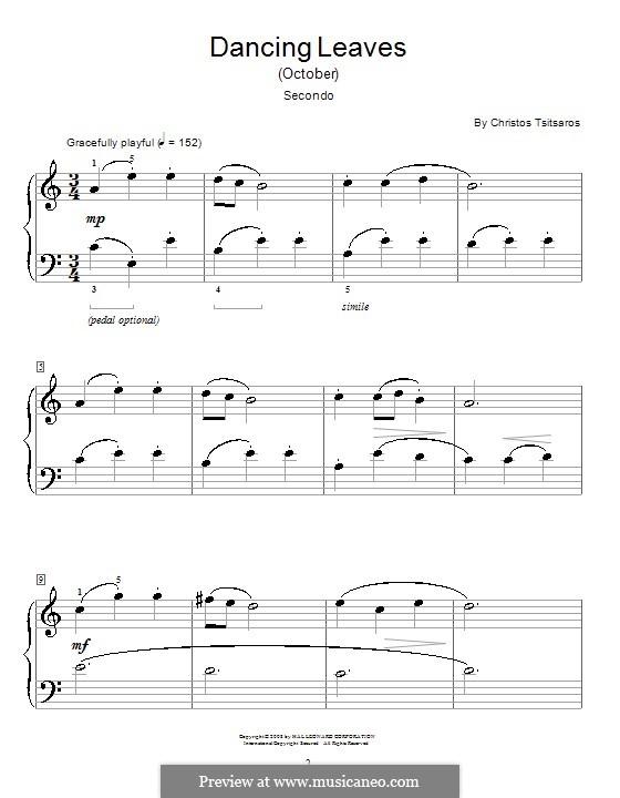 Dancing Leaves (October): para piano de quadro mãos by Christos Tsitsaros