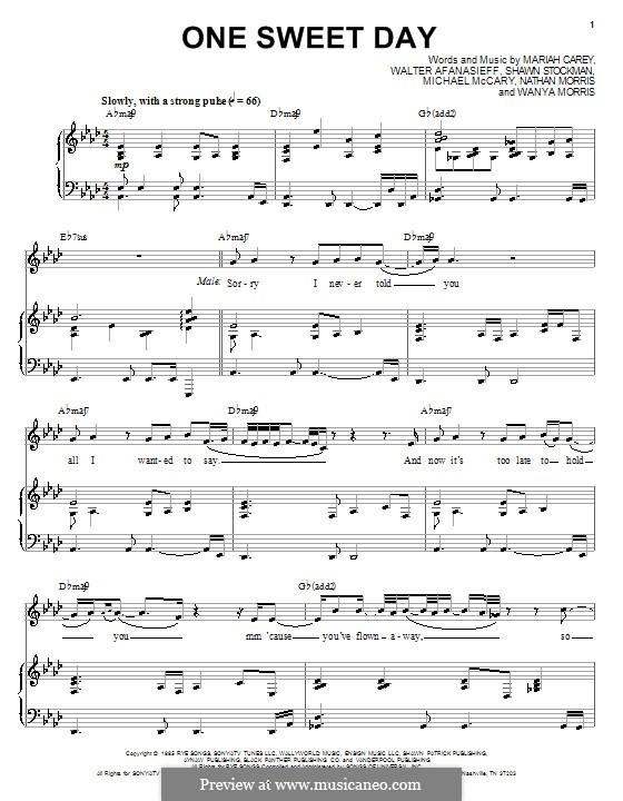One Sweet Day (Mariah Carey and Boyz II Men): Para vocais e piano (ou Guitarra) by Mariah Carey, Michael McCary, Nathan Morris, Shawn Stockman, Walter Afanasieff, Wanya Morris
