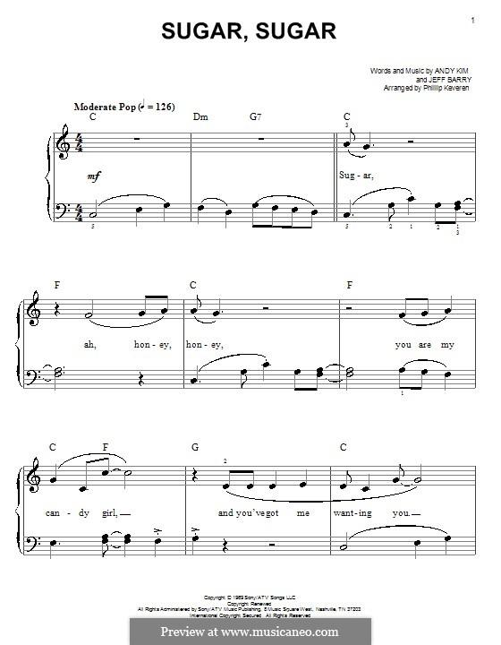 Sugar, Sugar (The Archies): Facil para o piano by Andy Kim, Jeff Barry
