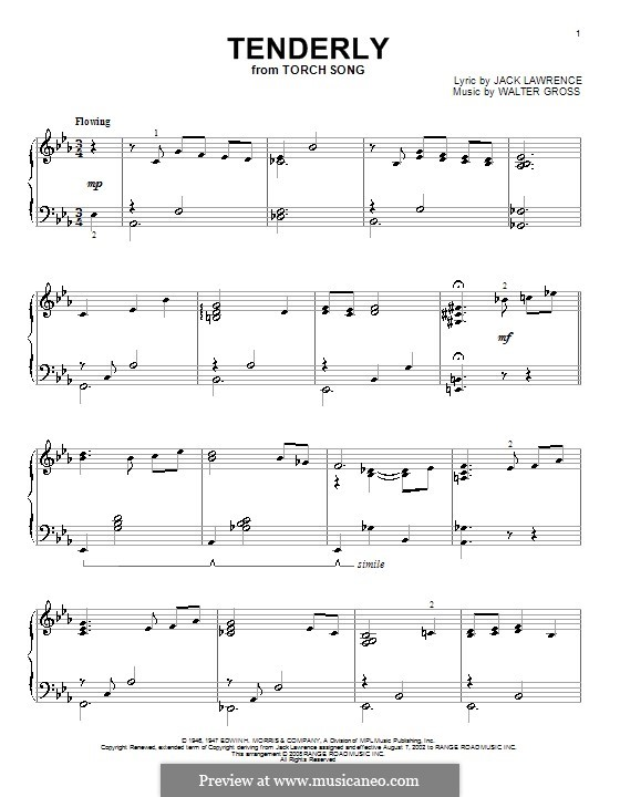 Tenderly: Para Piano by Walter Gross