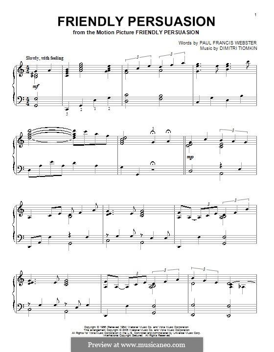 Friendly Persuasion (Pat Boone): Para Piano by Dimitri Tiomkin, Paul Francis Webster