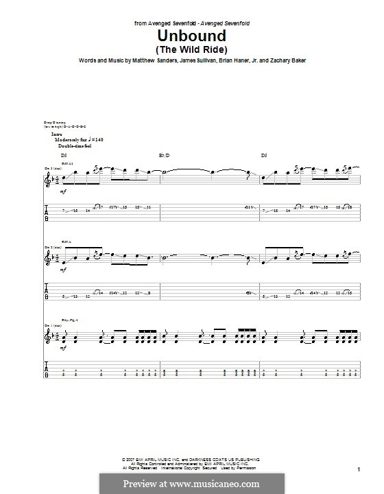Unbound (The Wild Ride): For guitar with tab (Avenged Sevenfold) by Brian Haner Jr., James Sullivan, Matthew Sanders, Zachary Baker