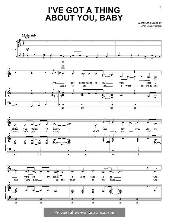 I've Got a Thing About You, Baby (Elvis Presley): Para vocais e piano (ou Guitarra) by Tony Joe White