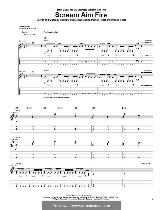 Scream Aim Fire (Bullet for My Valentine): Para guitarra com guia by Jason James, Matthew Tuck, Michael Paget, Michael Tomas