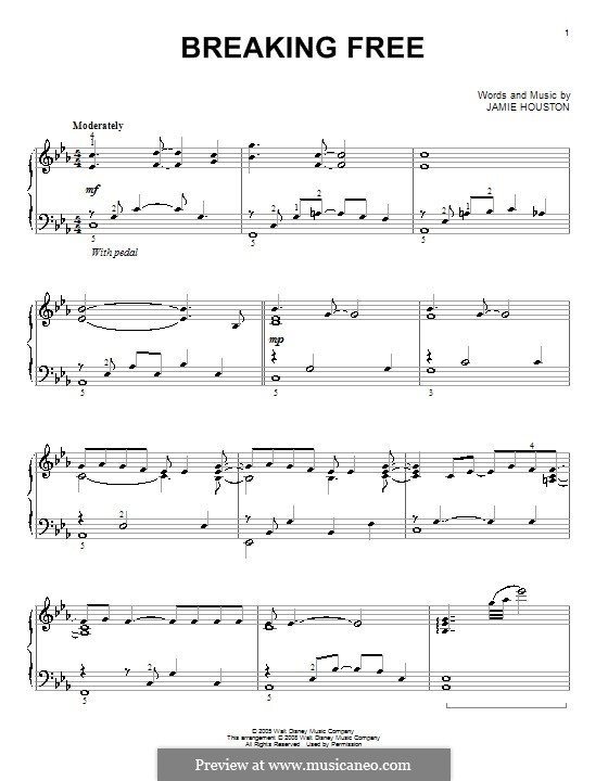 Breaking Free (from High School Musical): For piano (Vanessa Hudgens and Zac Efron) by Jamie Houston