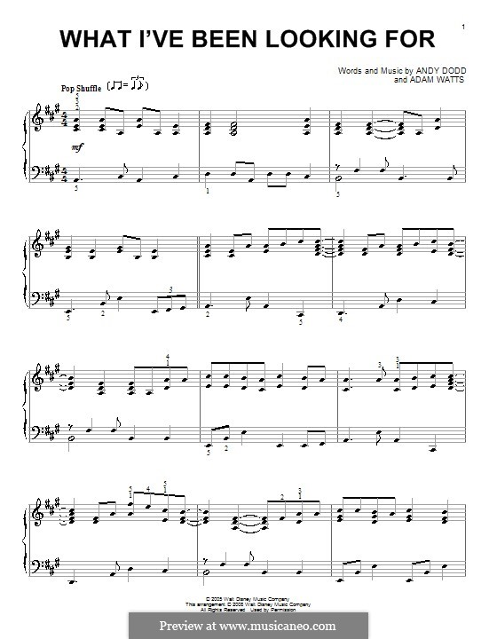 What I've Been Looking for (High School Musical): Para Piano by Adam Watts, Andrew Dodd