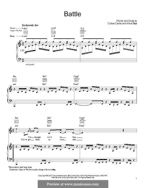 Battle (Colbie Caillat): Para vocais e piano (ou Guitarra) by Mikal Blue