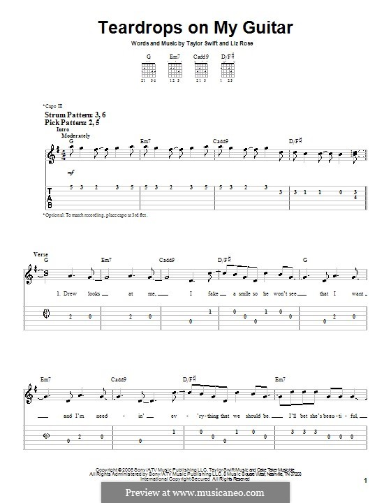 Teardrops on My Guitar: For easy guitar tab by Liz Rose, Taylor Swift
