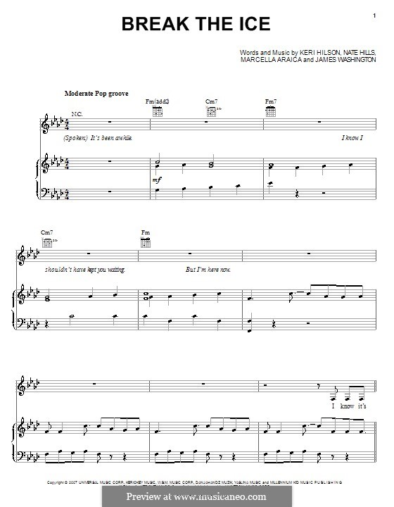 Break the Ice (Britney Spears): Para vocais e piano (ou Guitarra) by James Washington, Keri Lynn Hilson, Marcella Araica, Floyd Nathaniel Hills