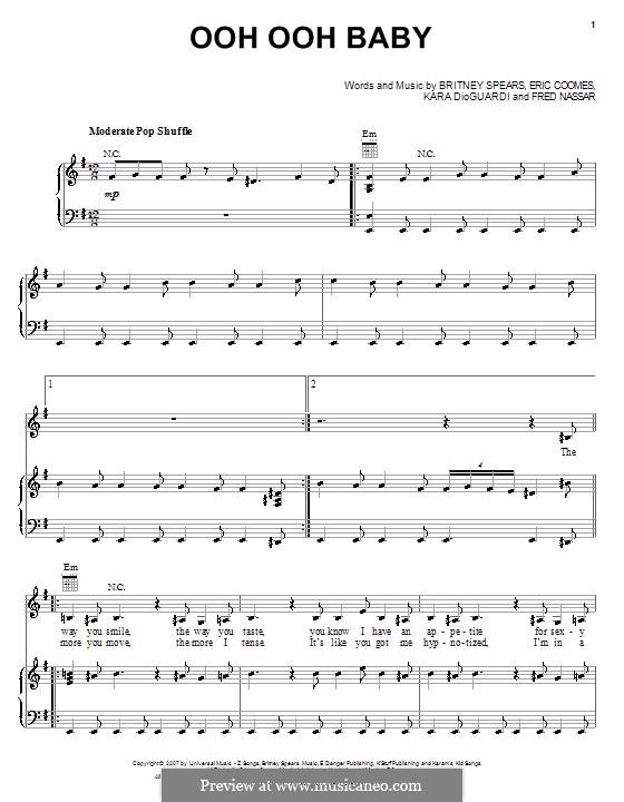 Ooh Ooh Baby (Britney Spears): Para vocais e piano (ou Guitarra) by Eric Coomes, Fred Nassar, Kara DioGuardi