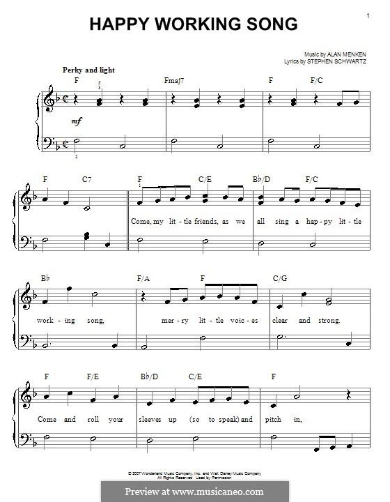 Happy Working Song: Facil para o piano by Alan Menken