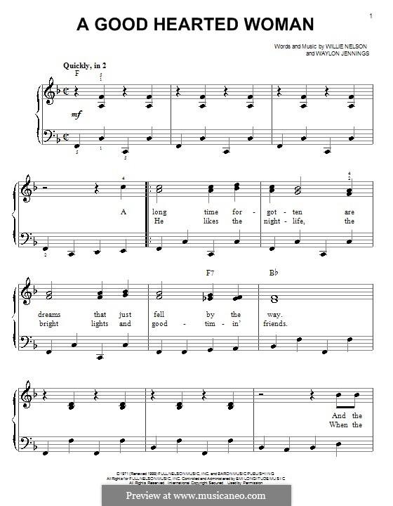 A Good Hearted Woman: Facil para o piano by Waylon Jennings, Willie Nelson